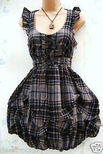 SIZE 8 STEAMPUNK GOTH BUBBLE & HITCH HEM TARTAN DRESS CHECK LINED * US 4 EU 36