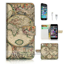 iPhone 7 (4.7') Flip Wallet Case Cover P0758 World Map