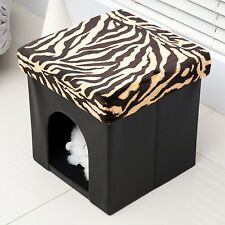 HOMCOM PVC Folding Pet Storage Ottoman Foldable Cat Dog House Kennel Bed Foot...