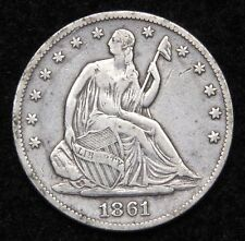 1861 Seated Liberty Half Dollar. 50 Cents Nice Coin..  Free Shipping (4936)