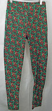 Women's LuLaRoe Leggings in OS (One Size) Unicorn Green with Reindeer Holiday
