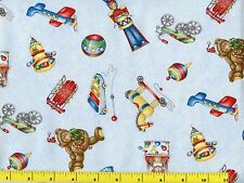 Great Old Time Christmas Toys on Light Blue Quilting Fabric by Yard #3071