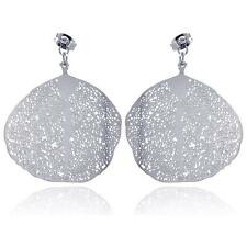 Stainless Steel Flat Disc Leaf Design Hanging Stud Earrings w/ CZ stone #022sse