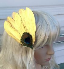 gold fascinator millinery peacock feather hair clip wedding piece ascot