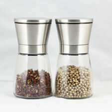 2pcs Stainless Steel Brushed Salt Mill Pepper Spice Grinder with Glass Bottle