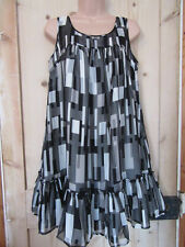 OASIS BLACK CREAM GREY SILK LINED PARTY DRESS SILVER METALLIC THREAD SIZE 10