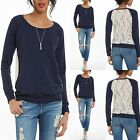 New Fashion Women's sexy casual long sleeve top Lace shirt blouse uk size 8-14
