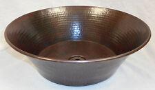 """15"""" Round Hammered Copper CAZO Vessel Vanity Sink"""
