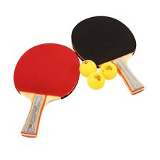 Table Tennis Ping Pong Racket Paddle Bat Blade Two Sides Rubber + 3 Balls +Case#