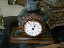 Maitland Smith Cast Brass Verdi Frog Clock with Abaca Rope Inlay and Penshell