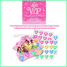 DISNEY VIP PRINCESS PARTY GAME TIARA BINGO GAME PACK FOR 8, Birthday Party Game
