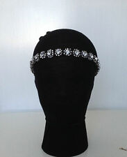 VINTAGE DECO FLAPPER 20s WHITE CRYSTAL DIAMANTE BEADED HEADBAND WEDDING BRIDAL