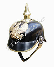 Prussian Leather Helmet - German Officer Pickelhaube Helmet + Free Helmet Stand