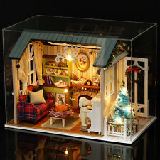 DIY Wooden Dolls house Miniature Kit w/ LED Light& Music Box&Dust Cover