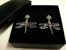 Sterling Silver French inspired Stained Glass Ruby gemstone Firefly earrings 3cm