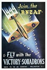 WW2 -Photo affiche néo-zélandaise -Join the RNZAF fly with the Victory Squadrons