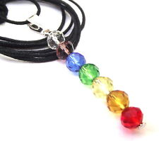 Small Crystal Glass Chakra Column Pendant with Cord