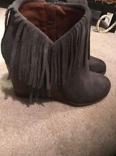 6.5M Lucky Brand Short Boot Shoes Dark Gray, Fringe NEW Women's