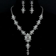 White Gold GP Clear Crystal Shell Pearl Necklace Earrings Wedding Jewelry Set 39
