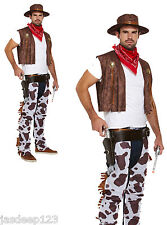 Cowboy Fancy Dress Costume Adult Mens Cowprint Outfit Western Hat Bandana Chaps