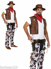 Cowboy Fancy Dress Costume adulto uomo cowprint VESTITO CAPPELLO WESTERN Bandana Chaps