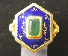 18k Gold and Enamel Victorian Poison Ring with Rams head Motif