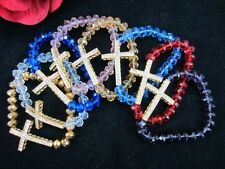 CLEAR Crystal Faceted Beads Stretch Bracelet Sideways Rhinestone Cross 10PCS
