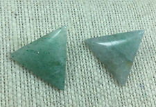 Vintage Style Earrings Green Aventurine Gemstone Triangle Clip On