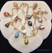JOAN RIVERS Russian Faberge Enamel Egg Necklace #6 Includes 16 Eggs Charms