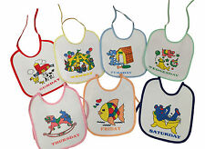 PACK OF 7 BABY TODDLER KIDS BABY BIBS DAYS OF THE WEEK WATERPROOF BACK