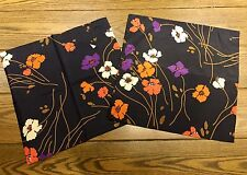 Two 1970s Handwoven Silk Thailand Black Orange Poppies 17 x 17 in. Pillow Covers