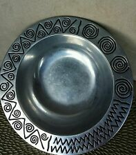 "VINTAGE  WILTON CO RWP."".LARGE PEWTER SERVING BOWL WITH AZTEC DESIGNS"