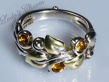 Barbara Bixby Sterling Silver 18k Citrine Leaf & Vine Design Ring Size 9