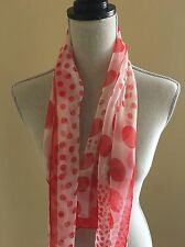 Vintage Red and White Polka Dot Sheer Polyester 15 x 43 Scarf Hand Rolled Hem
