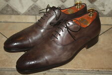 Santoni Stafford Cap Toe Oxford Dark Brown Calf Leather Shoes Size 10.5 D $795