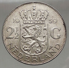 1959 Netherlands Kingdom Queen JULIANA 2½ Gulden Authentic Silver Coin i56606