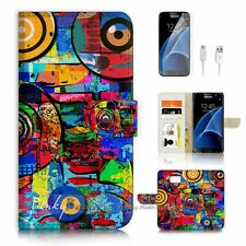 Samsung Galaxy S7 Flip Wallet Case Cover P2630 Abstract Painting
