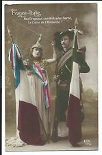 France & Italy Flags Patriotic PPC 1915, Small Letter to Family at Home