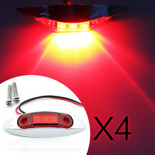 4X LED Front Side Marker Indicator Red Lights 10V-30V Car Truck Van Trailers