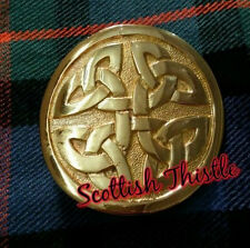 "Men's Kilt Belt Buckle Celtic Knot Gold Plated/Scottish Kilt Belt Buckles 2""Inch"
