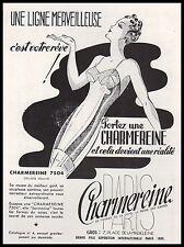 Publicité CHARMEREINE  gaine corset lingerie femme vintage  ad 1938 -1i