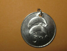 ICELAND SEA DOUBLE DOLPHIN SILVER COIN PENDANT CHARM  NECKLACE