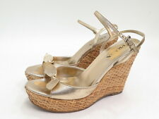 Prada Wicker Wedge Platform Sandal Gold Leather with Bow Size 37.5