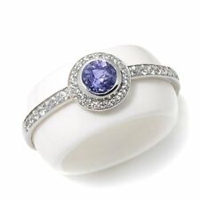 RARITIES CAROL BRODIE WHITE AGATE TANZANITE ZIRCON STERLING BAND RING SIZE 8 HSN