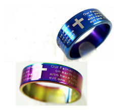 12  Lord's Prayer English wholesale Stainless steel blue multi Rings Jewelry lot