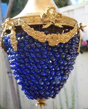 Murano Chandelier Bronze Beaded Rose Brass Vintage Lamp Light Grape ITALY Glass
