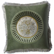 2x Green Fringe Circle Floral Decorative Throw Pillow Case Cushion Cover 18""
