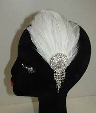 White & Silver Rhinestone Feather Headpiece Vintage 1920s Headband Flapper U42