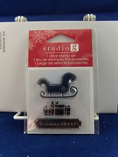 NEW STUDIO G CLEAR STAMP SET HOLIDAY CHEER SLEIGH PRESENTS CHRISTMAS VC0057