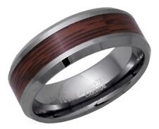 Mens 8mm Tungsten Ring with Wood inlay